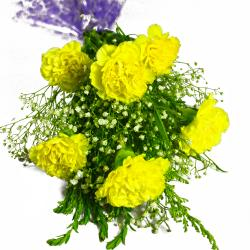 Six Yellow Carnations Bunch for Lucknow