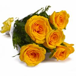 Six Yellow Color Roses Tissue Wrapping for Baroda