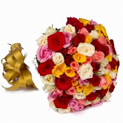 Sixty Multi Color Roses Round Bunch for Ahmedabad