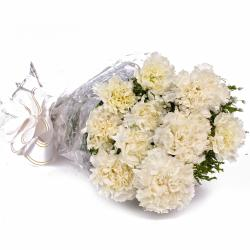 Snowiest White Ten Carnations Bouquet for Madras