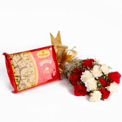 Soan Papadi Box with Bouquet of Roses and Carnations Combo for Raichur