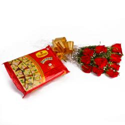 Soan Papadi Box with Lovely Ten Red Roses Bunch for Lucknow