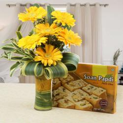 Soan Papdi Sweet with Yellow Gerberas for Jalandhar