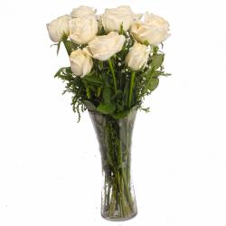 Soft Touch of White Roses Vase for Asansol