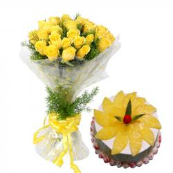 Special Love Whisper with Yellow Roses and Eggless Pineapple Cake for Jaipur