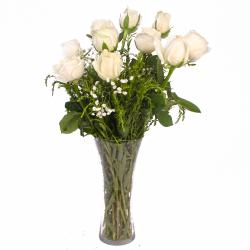 Specious Ten White Roses Vase for Ahmedabad