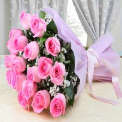 Splendid Pink Roses Bouquet for Chennai
