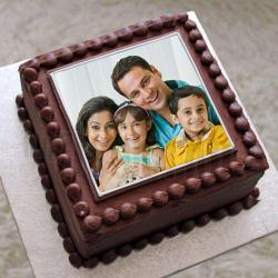 Square Shape Chocolate Personalised Photo Cake for My Family for Alappuzha