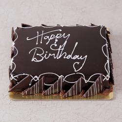 Square Shape Dark Chocolate Happy Birthday Cake for Alappuzha