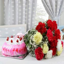 Strawberry Cake with Colorful Carnations Bouquet for Hyderabad
