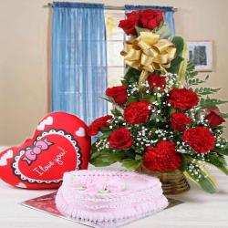 Strawberry Cake with Red Flowers Arrangement and Red Heart Cushion for Jaipur