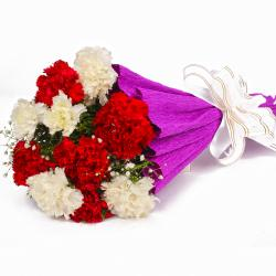 Stylish Red and White Carnations Bouquet for Kolkata