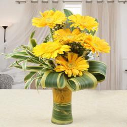 Stylish Yellow Gerberas in a Vase for Kolkata