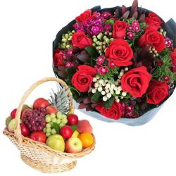 Sweet Heart Fruits with Roses for Belgaum