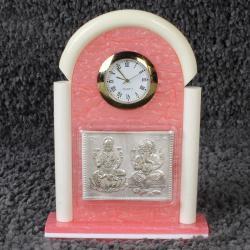Table Clock with Silver Plated Laxmi Ganesh Idol of Acrylic Frame for Dewas