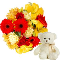 Teddy and Mix flowers for Raichur