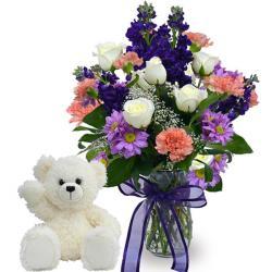 Teddy Bear and Floral Vase for Gurgaon