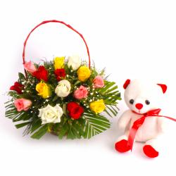 Teddy Bear with Lovely Mix Roses Basket for Pune