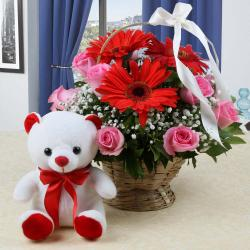 Teddy Bear with Mix Flowers Arrangement for Hospet