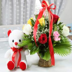 Teddy Bear with Mix Roses Arrangement for Hyderabad
