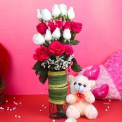Teddy Bear with Pink and White Roses Arrangement for Mathura