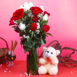 Teddy Bear with Red and White Roses in Vase Arrangement for Mathura