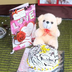 Teddy Bear with Vanilla Cake and Love Card for Bharuch