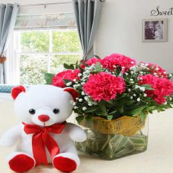 Teddy Bear with Vase of Pink Carnations for Rajahmundry