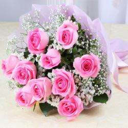 Ten lovely Pink Roses Bouquet
