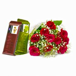Ten lovely Red Roses Bouquet with Bars of Temptation Chocolate for Madras
