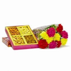 Ten Mix Carnations Bouquet with Assorted Dry fruits Box for Pune