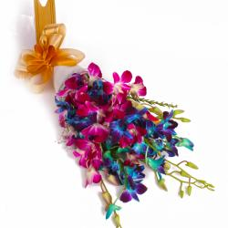 Ten Mix Color Orchids Hand Tied Boquet with Tissue Packing for Gandhinagar