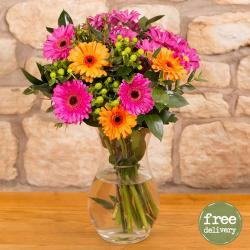 Ten Mix Gerberas In Vase for Hyderabad