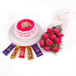Ten Pink Carnations Bouquet with Strawberry Cake and Cadbury Chocolates for Pune
