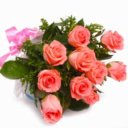 Ten Pink Roses Bunch Cellophane Wrapped