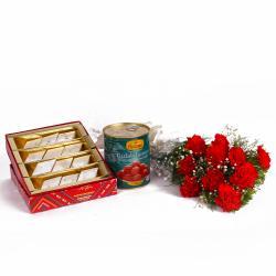 Ten Red Carnation Bunch with Kaju Katli and Gulab Jamuns for Gurgaon