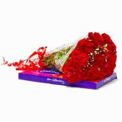 Ten Red Carnations Bouquet with Cadbury Celebration Chocolate Box for Vasco Da Gama