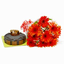 Ten Red Gerberas Bouquet and Chocolate Cake for Chandigarh