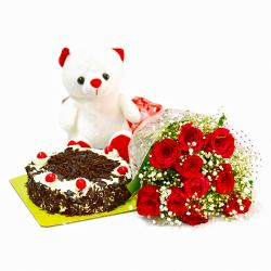 Ten Red Rose with Eggless Black Forest Cake and Soft Toy for Hyderabad