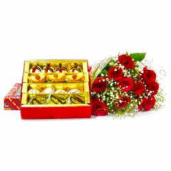 Ten Red Roses Bouquet with 500 Gms Assorted Sweet Box for Delhi