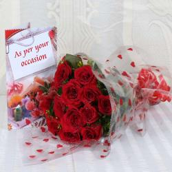 Ten Red Roses Bouquet with Greeting Card Same Day Delivery