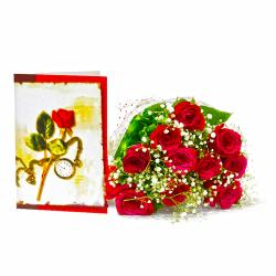 Ten Red Roses Bouquet with Greeting Card for Dombivli