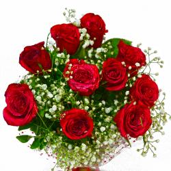 Ten Red Roses Hand Tied for Agra