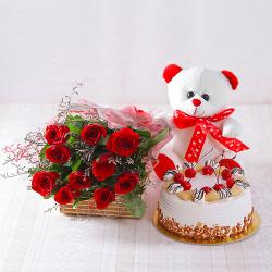 Ten Red Roses with Pineapple cake and Teddy Bear