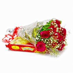 Ten Red Roses with Tasty Soan Papdi for Lucknow
