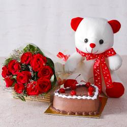 Ten Red Roses with Teddy Bear and Heart Shape Chocolate Cake for Mathura