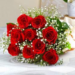 Ten Romantic Red Roses Bouquet for Kanchipuram