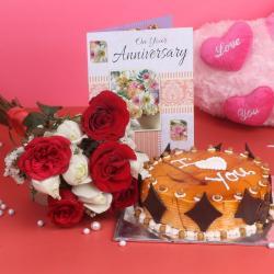 Ten Roses Bouquet and Eggless Butterscotch Cake for Belgaum
