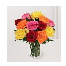 Ten Roses in glass vase for Jalandhar
