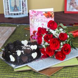 Ten Roses with Chocolate Cake and Birthday Card for Kolkata